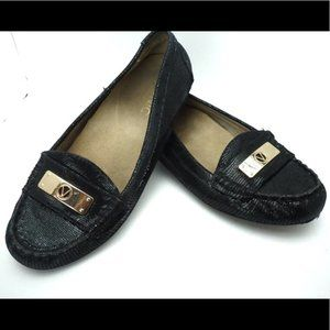 Vionic Black and Gold Loafers Size 6.5
